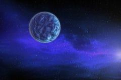 Большая голубая планета двигает вокруг яркой звезды в далеком космосе, стоковые изображения rf