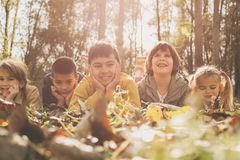 Большая группа в составе дети лежа на листьях Стоковые Изображения RF