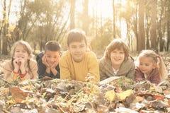 Большая группа в составе дети лежа на листьях Стоковое фото RF