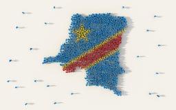 Большая группа людей формируя карту и национальный флаг Демократической Республики Конго в социальных средствах массовой информац иллюстрация вектора
