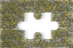 Большая группа людей формируя отсутствующую часть мозаики иллюстрация вектора