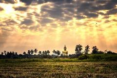 Большая золотая статуя Будды в виске Wat Maung Стоковые Фотографии RF