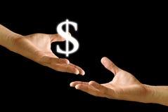 большая икона руки доллара другая доля к стоковое фото rf