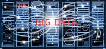 Большая концепция данных на запачканной комнате центра данных Стоковое фото RF