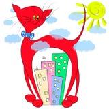 Большая кошка в иллюстрации города Стоковые Фото