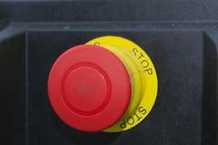 Большая красная кнопка со стопом слова стоковая фотография rf