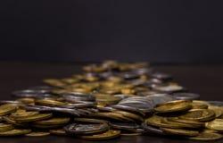 Большая куча украинских монеток Стоковое Изображение