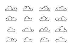 Большая линия комплект значков облака вектора стоковая фотография rf