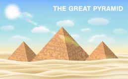 Большая пирамида Гизы в пустыне Стоковые Изображения