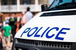 Большая полиция подписывает на фронте белого корабля патруля Стоковое Изображение