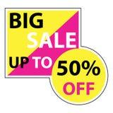 Большая продажа до 50 процентов с вектора eps10 Скидка продажи цвета желтого цвета и пинка знамени большая до 50 процентов  иллюстрация вектора