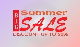 Большая продажа лета, специальное предложение, большая продажа, скидка 50%, иллюстрация вектора, знамя Стоковые Изображения