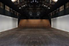 Большая просторная комната, загоренная естественным светом от окон, пустой внутренний космос, был домом бесплатная иллюстрация