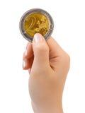 большая рука монетки Стоковое Изображение RF
