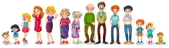 Большая семья из нескольких поколений иллюстрация вектора