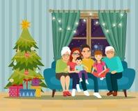 Большая семья сидя на софе в живущей комнате Новый Год рождества счастливое веселое иллюстрация вектора