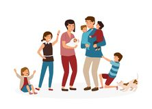 Большая семья с много детей Усиленные и утомлянные родители или вымотанная мама и папа и гадкие дети изолированные на белизне бесплатная иллюстрация