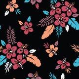 Большая смелая красочная тропическая экзотическая листва, картина флористического вектора гибискуса безшовная Сочные тропические  иллюстрация вектора