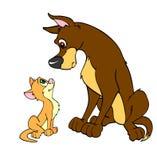 Большая собака и маленький кот Иллюстрация вектора