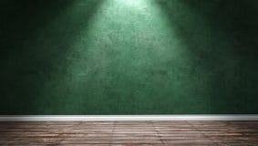 Большая современная комната с зеленой стеной гипсолита и дирекционным светом Стоковые Фотографии RF