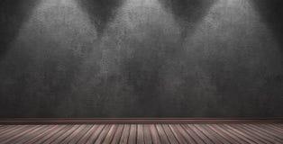 Большая современная комната с черной стеной гипсолита Стоковое фото RF