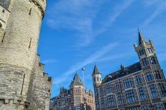 Большая средневековая крепость в Антверпене, Бельгии стоковое изображение