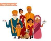 Большая счастливая индийская семья Стоковое Изображение RF