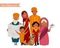 Большая счастливая индийская семья Стоковые Фото