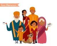 Большая счастливая индийская семья Стоковые Изображения RF