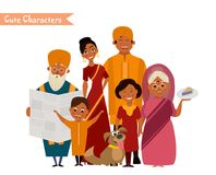 Большая счастливая индийская семья Стоковая Фотография
