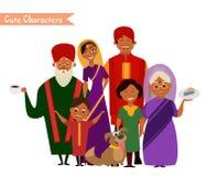 Большая счастливая индийская семья Стоковые Изображения