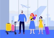 Большая счастливая семья на летании аэропорта на отключении на каникулах Перемещение семьи Праздник Семья персонажа из мультфильм иллюстрация штока