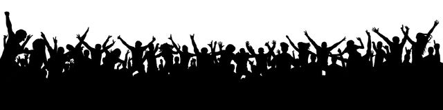 Большая толпа людей дует силуэт Стоковая Фотография