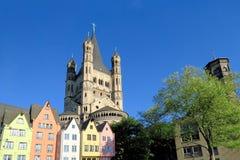 Большая церковь St Martin в Кёльне, Германии Стоковое Изображение RF