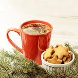 Большая чашка кофе Новый Год Печенье пряника рождество моя версия вектора вала портфолио стоковое изображение
