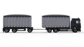 Большая черная тележка с отдельным трейлером, для транспорта кусковые материалы и продукты аграрных и здания 3d Стоковое фото RF