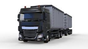 Большая черная тележка с отдельным трейлером, для транспорта кусковые материалы и продукты аграрных и здания 3d Стоковое Изображение RF