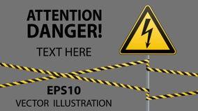больше моего знака портфолио подписывает предупреждение Электрическая опасность Ограженная опасная зона штендер с знаком вектор и иллюстрация штока