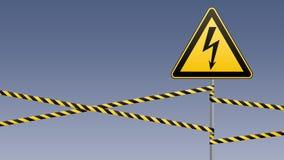 больше моего знака портфолио подписывает предупреждение Электрическая опасность Ограженная опасная зона штендер с знаком вектор и бесплатная иллюстрация