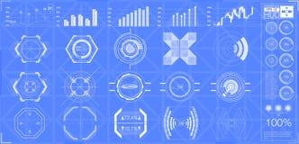 Большие аппаратуры элементов, графиков, дисплеев, сетноых-аналогов и цифровых hud комплекта, масштабы радиолокатора иллюстрация штока