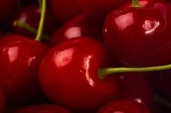 большие зрелые красные сладостные вишни Стоковые Фото