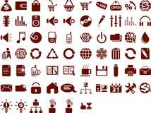 большие иконы установили сеть Стоковое Изображение