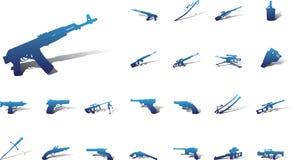 большие иконы 9a установили оружие Стоковое Фото