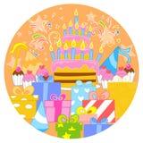 Большие именниный пирог и украшения иллюстрация штока