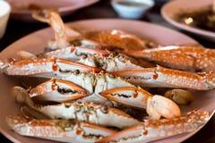 Большие испаренные крабы с очень вкусным соусом морепродуктов Стоковое Изображение RF