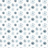 Большие и небольшие голубые и голубые снежинки, картина акварели иллюстрация вектора