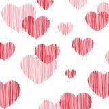 большие и небольшие сердца со свирлями в красных и розовых цветах иллюстрация штока