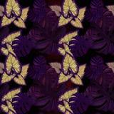 Большие листья тропических заводов Декоративный состав на предпосылке акварели банкы рисуя цветя замотку акварели валов реки Стоковая Фотография