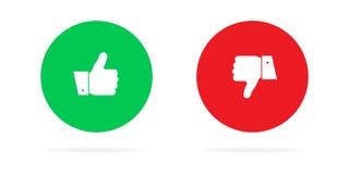 Большие пальцы руки вверх или вниз Полюбите или невзлюбите r иллюстрация штока