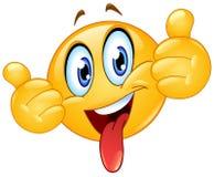 Большие пальцы руки вверх по смайлику с языком вне бесплатная иллюстрация